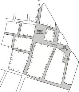 Plano oficial de la demarcación de la Falla Plaza de la Merced, año 2010