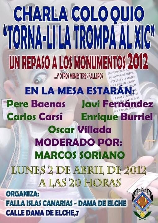 Cartel anunciador de la charla en I.Canarias-Dama de Elche