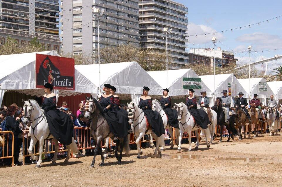 Demostración ecuestre que tuvo lugar ayer en real de la Feria