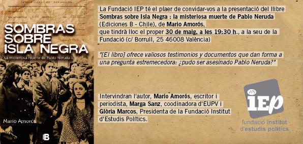 Anuncio de la celebración del acto sobre Pablo Neruda