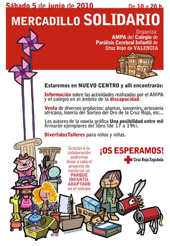 Cartel de uno de los mercadillos del ampa del colegio de Cruz Roja