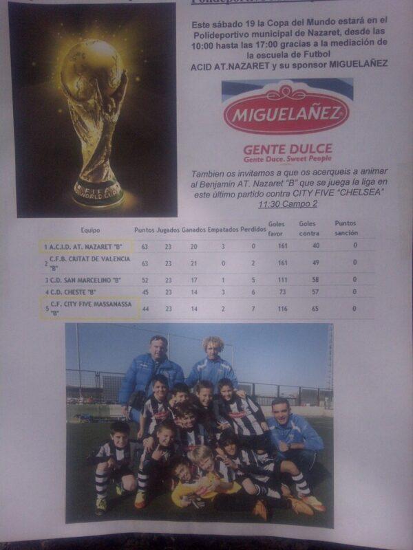 Cartel anunciador de la exhibición de la Copa del Mundo en Nazaret