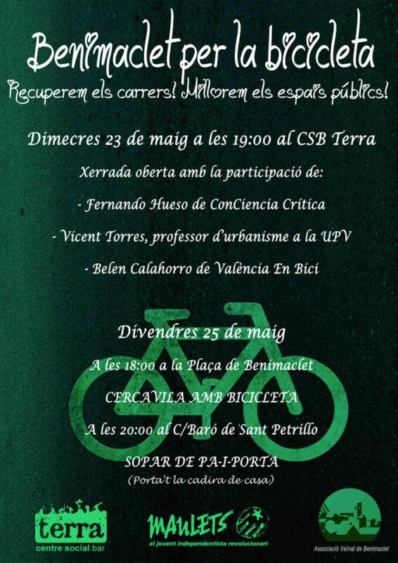 Cartel de las jornadas sobre la bici en Benimaclet