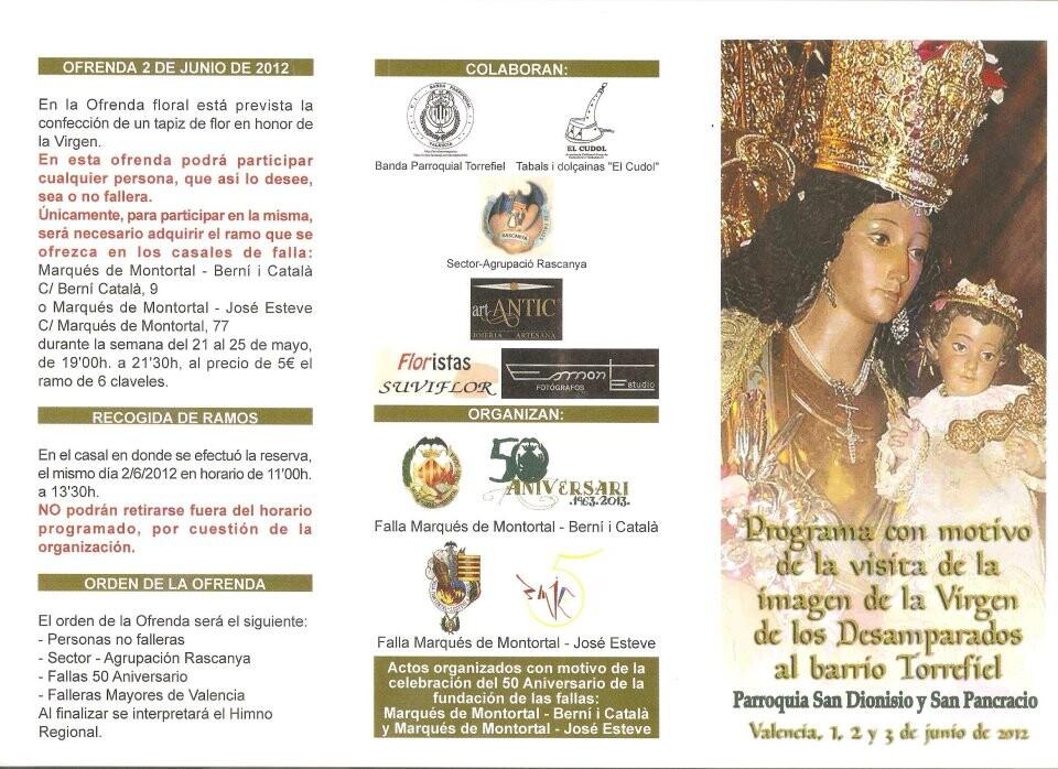 Cartel y programa de la visita de la Virgen de los Desamparados a Torrefiel