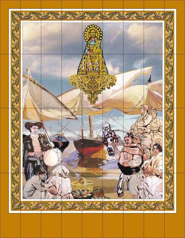 Imagen del tapiz que se verá en la fachada de la Basílica