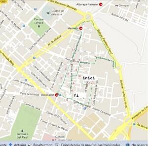 Mapa con el itinerario del recorrido ciclista por Benimaclet del próximo viernes