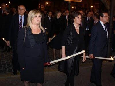 Pilar Calabuig en una procesión de la Semana Santa Marinera