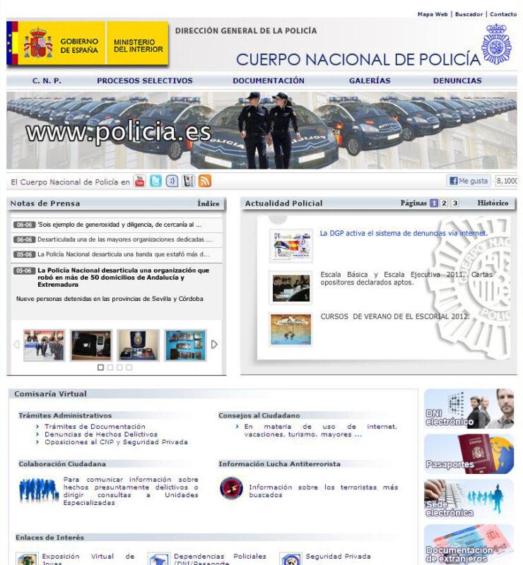 Vista general de la página de denunicas por la red