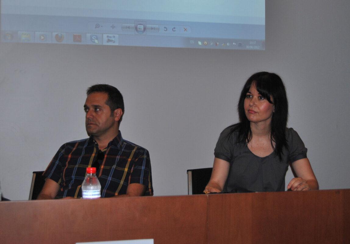 El edil y portavoz de EU, Amadeu Sanchis, y la concejala Rosa Albert en las jornadas celebradas hoy