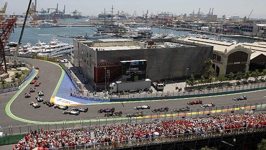 Los bólidos de la Fórmula 1 en una de las pruebas de Valencia