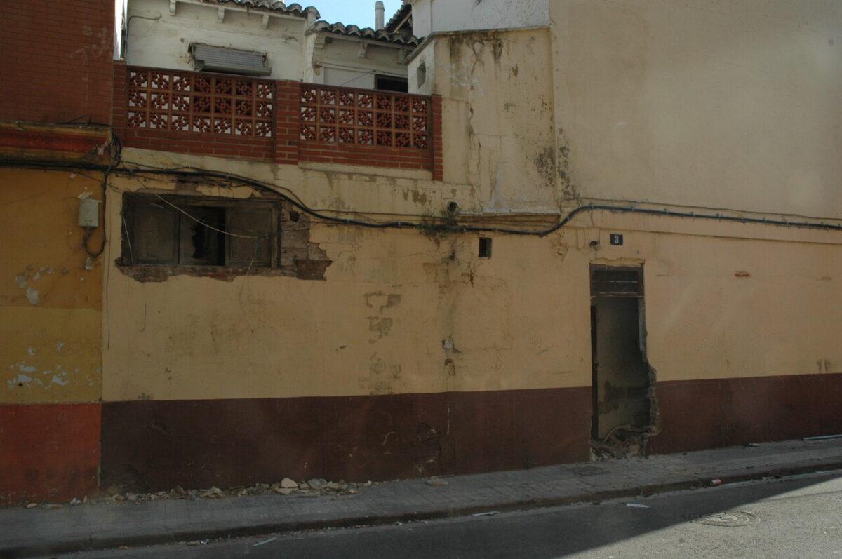 Casa que ha sido desguazada la pasada noche