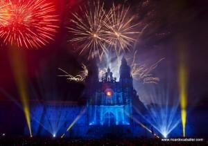 Espectáculo pirotécnico nocturno de Santiago de Compostela
