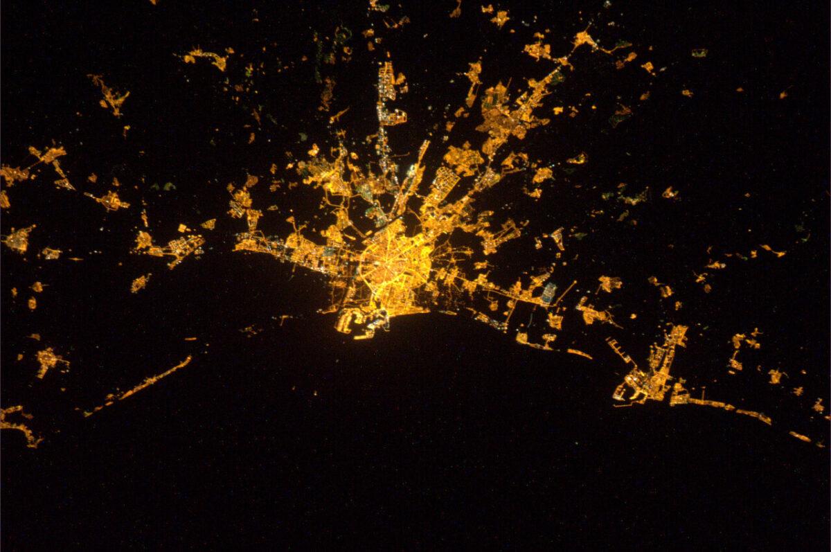 Vista nocturna de la ciudad de Valencia