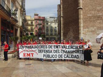 Trabajadores de la EMT durante una protesta en el centro de la ciudad