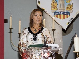 La consellera jhonson en la lectura del Tirante en Na Jordana