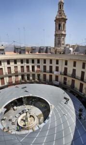 Vista aérea de la cubierta de la plaza Redonda hace unas semanas