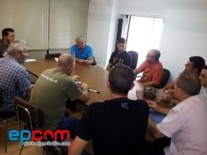 Joan Ribo durante una reunión con el comité de empresa de la EMT