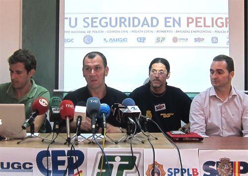 El portavoz del SPPLB en la rueda de prensa/ep