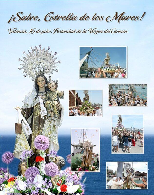 Imagen de la Virgen del Carmen de la iglesia de El Grao que preside los actos en el puerto/fotos:manolo guallart