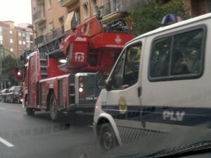 Vehículos de bomberos en Valencia ciudad
