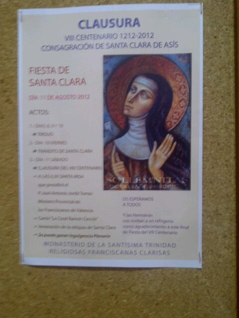 Cartel de los actos en el Convento de la Trinidad de la calle Alboraya