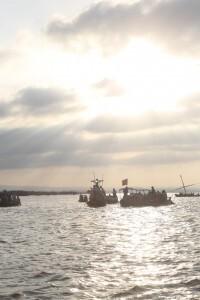 Un grupo de barcas en el centro del lago de la Albufera/avan