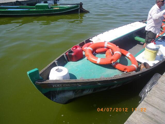 Una de las embarcaciones en una de las zonas de atraque del lago de la Albufera/plv