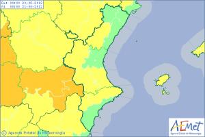 Mapa de situación de las zonas con mayor riesgo de temperaturas elevadas/aemet
