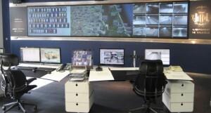 Vista general del centro de telemando y control de la red de saneamiento de Valencia