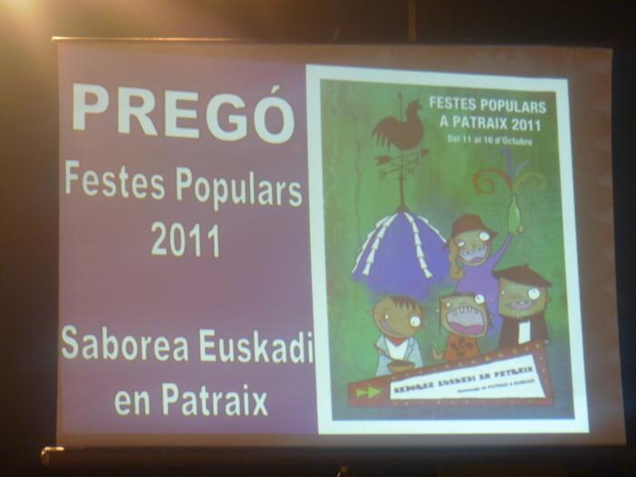 El cartel anunciador del pregón de las fiestas de 2011 dedicadas a Euskadi