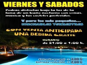 Cartel anunciador de las fiestas en la piscina del Parque del Oeste