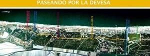 Mapa de la zona con los distintos itinerarios peatonales/ayto. valencia