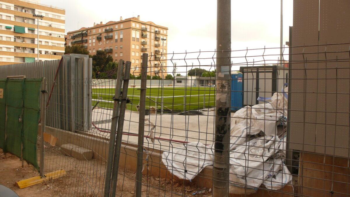 Una vista de como están las obras en la zona del campo de fútbol/pspv
