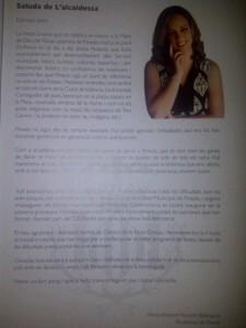 Escrito oficial de la alcaldesa pedánea que figura en el libro de Fiestas de Pinedo
