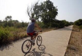 Un hombre circula en bici por uno de los senderos de la Dehesa