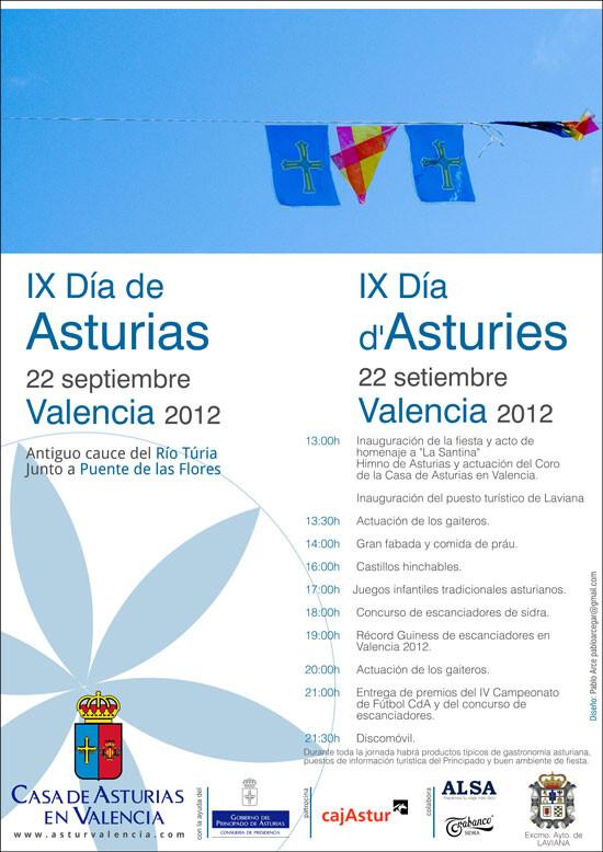 Cartel de los actos del Centro de Asturias en Valencia/CdA