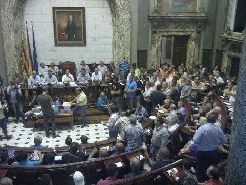 La asamblea de presidentes en un momento de la sesión de anoche/