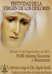 Cartel del Besamanos a la Virgen de los Dolores que tendrá lugar en la iglesia de los Ángeles del Cabanyal/granaderos cabanyal