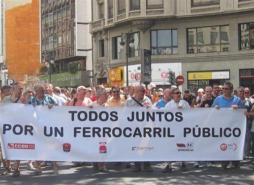 Manifestación de los sindicatos del transporte ferroviario/ep