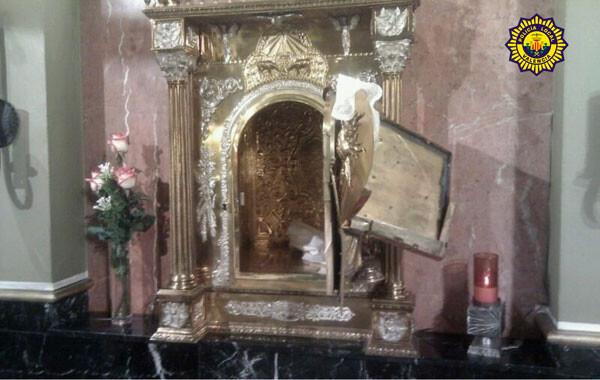Sagrario de la iglesia de San Isidro, destrozado por los ladrones