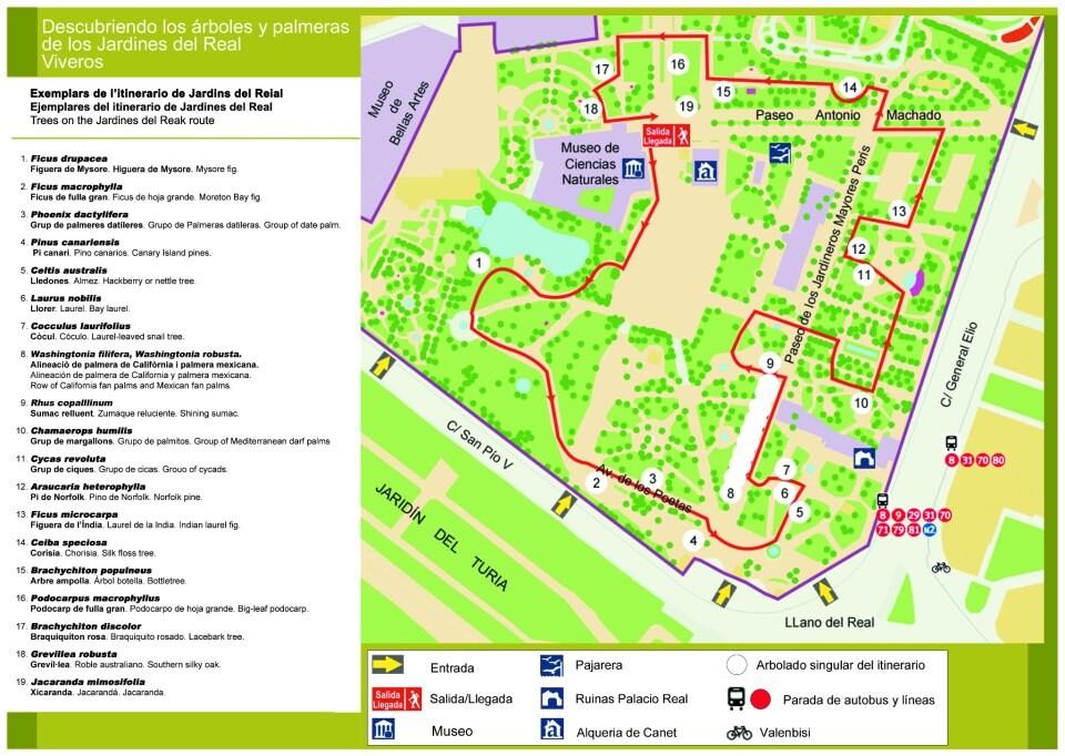 Plano de la visita a los Jardines del Real
