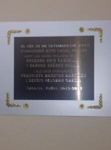 La placa inaugural con la fecha de....28 de septiembre de 2013/vlcciudad
