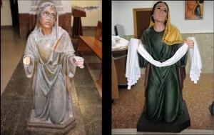 La imagen de una figura antes y después de los trabajos/longinos