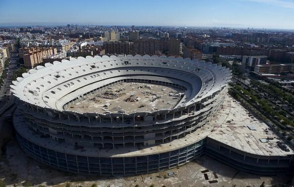 Vista aérea del Nou Mestalla cuyas obras llevan paradas tres años