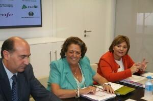 El presidente de ADIF, la alcaldesa de Valencia y la consellera de Infraestructuras/ayto. vlc
