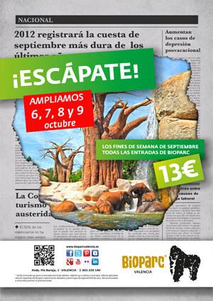 Promoción ¡Escápate! de Bioparc Valencia