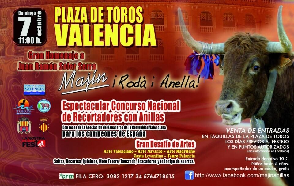 Cartel del homenaje al fallecido recortador ¨Majín¨que tendrá lugar en los festejos taurinos del Nou d´Octubre