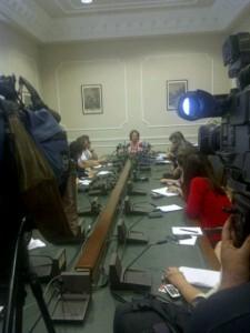 La alcaldesa durante la comparecencia donde ha anunciado la remodelación de su equipo de gobierno/vlcciudad