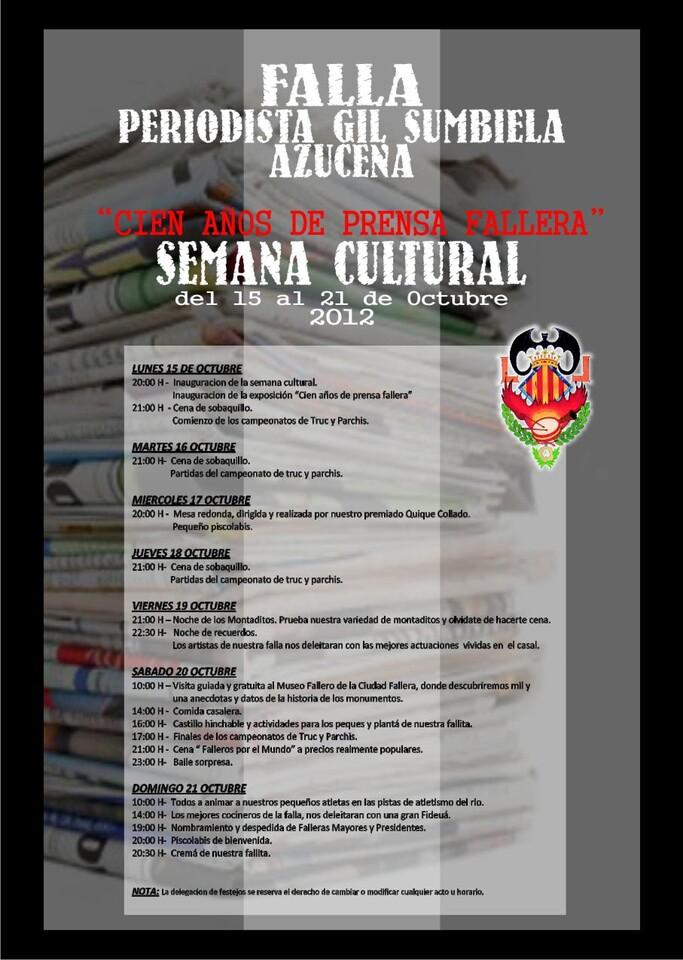 Cartel de la semana cultural de la falla Periodista Gil Sumbiela