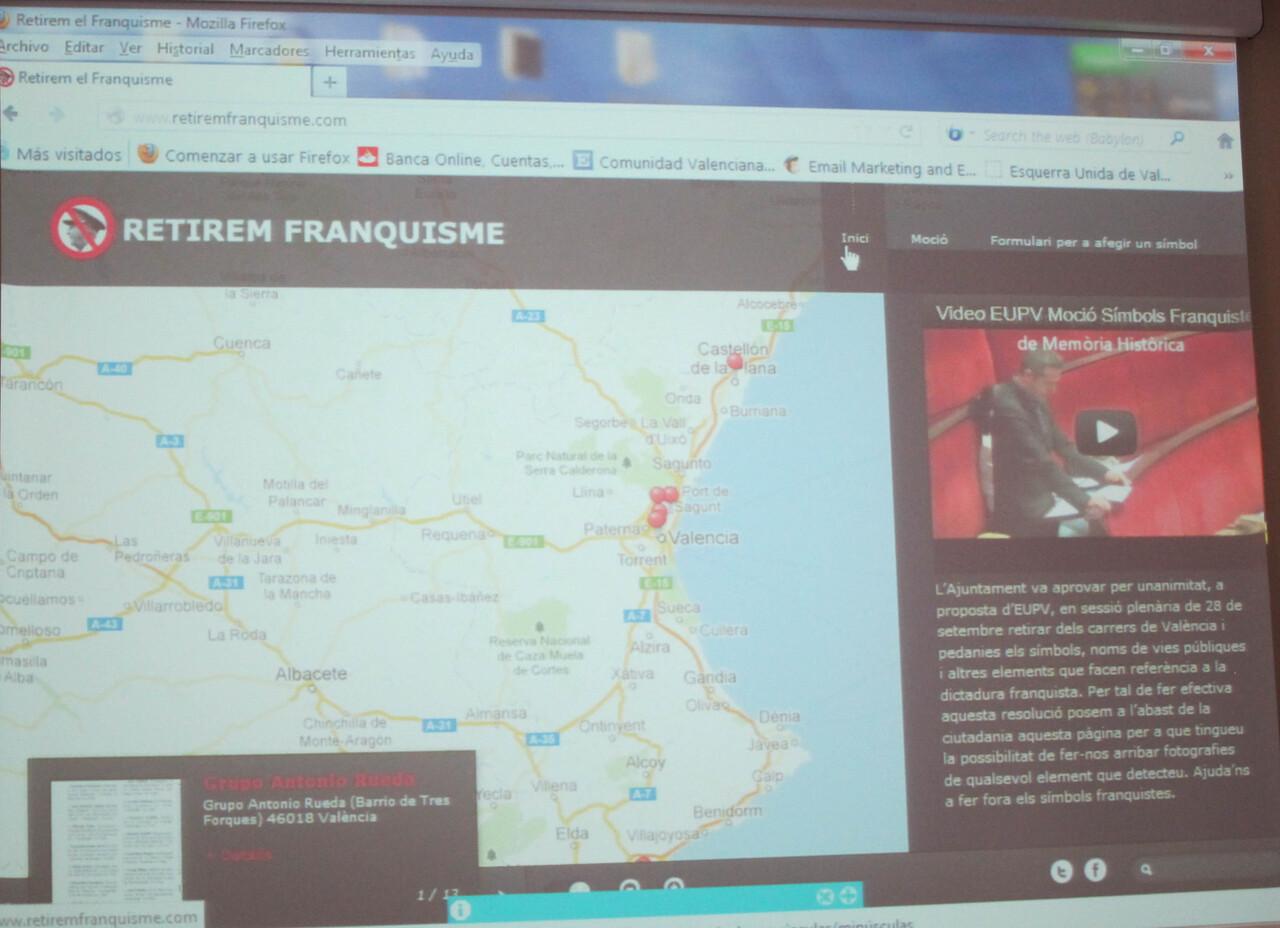 Web para denunciar símbolos franquistas que pone en marcha EU/eu